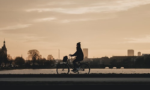 Biker downtown